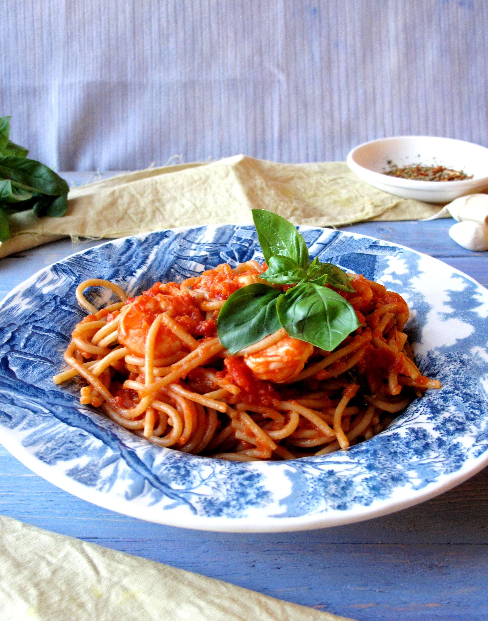 Fresh Basil King Prawn Spaghetti