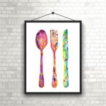 kitchen watercolour art print